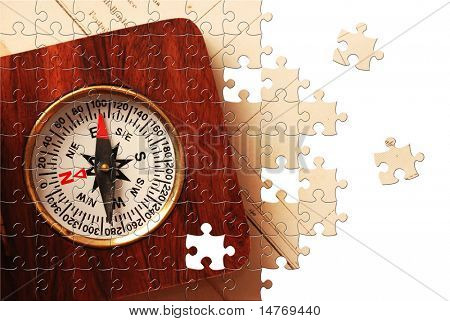 Puzzle Antique wooden compass over old map background