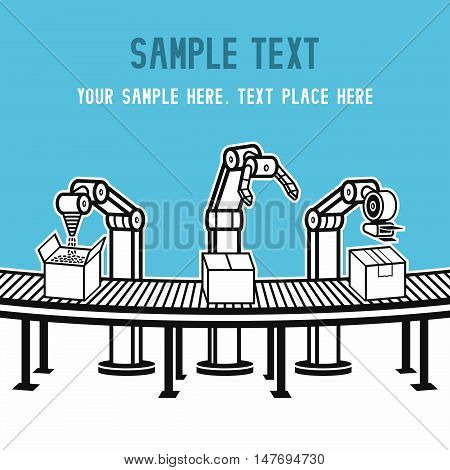 Industrial mechanical robot arm vector icon. vector illustration