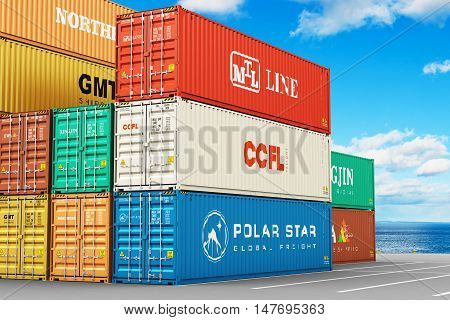 3D illustration of stacked 40 ft color metal heavy containers in sea port terminal