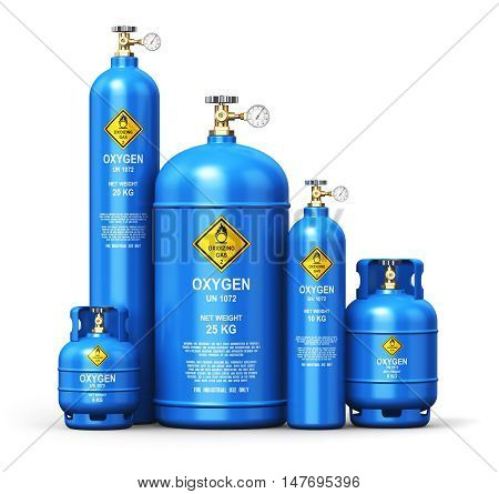 3D render illustration of the set of different blue metal steel liquefied compressed natural oxygen gas containers or cylinders for welding or medical use with high pressure gauge meters and valves isolated on white background