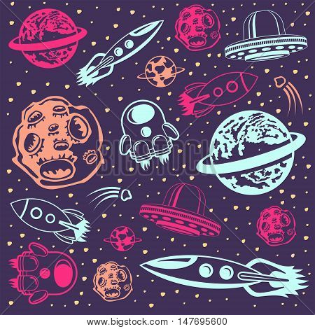 Space background: seamless pattern with hand drawn space cartoons