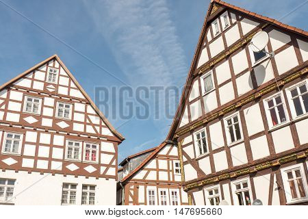 Half timbered houses in Frankenberg in Germany.