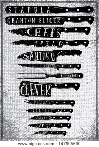 retro poster with burlap texture with different types of kitchen knives