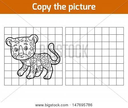 Copy the picture, education game for children, Jaguar