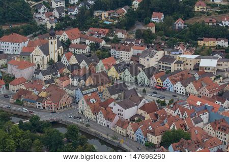 aerial view of the city Schwandorf in bavaria