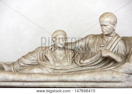 ROME, ITALY - JUNE 12, 2015:Ancient statue of man in baths of Diocletian (Thermae Diocletiani) in Rome. Italy