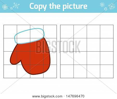 Copy the picture, education game for children, Mitten