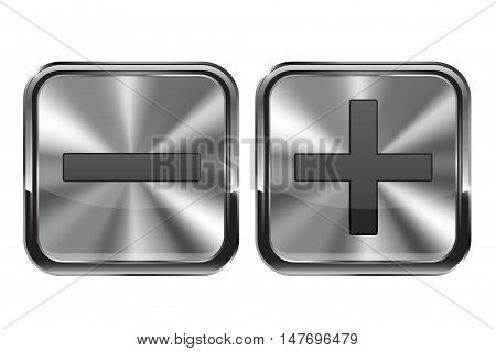 Metal buttons. Minus and plus icons. Reduce and enlarge. Vector illustration isolated on white background