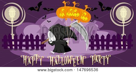 Funny little death with a large scythe and air balloon from Halloween pumpkin go on the street of the town. Cartoon style. Concept design for banners posters or cards. Vector illustration