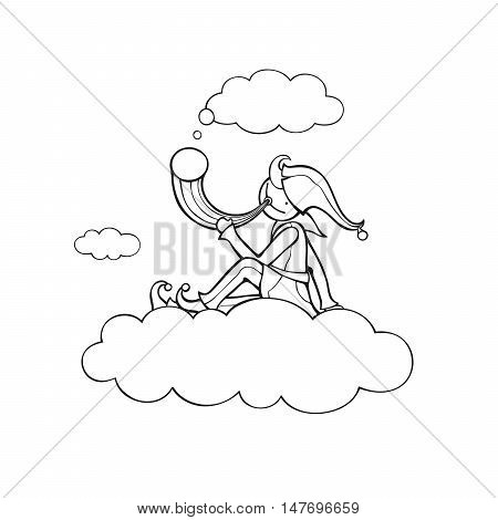 Shepherd sits on cloud and holds horn. Vector illustration of fictitious character. Black outlines.