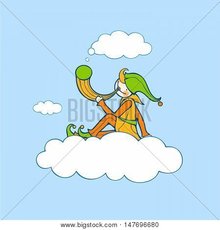 Shepherd sits on cloud and holds horn. Vector illustration of fictitious character. Black outlines. Colored.
