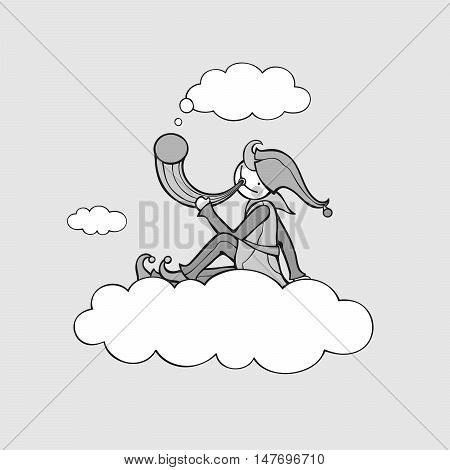 Shepherd sits on cloud and holds horn. Vector illustration of fictitious character. Black outlines. Gray fill.