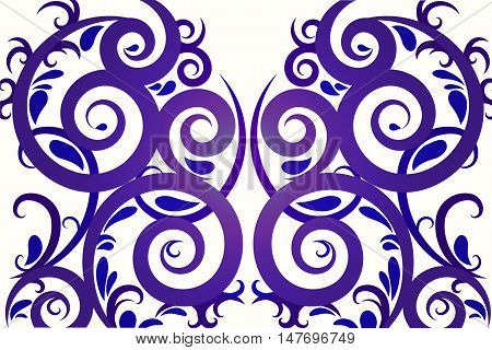 Blue abstract lines and swirl vector background