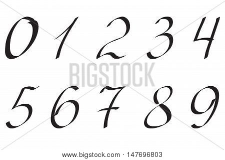Numbers handwritten numerals. Vector illustration isolated on white.