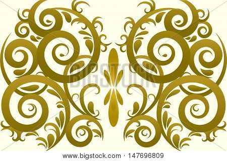 Gold color abstract swirl vector ornament background