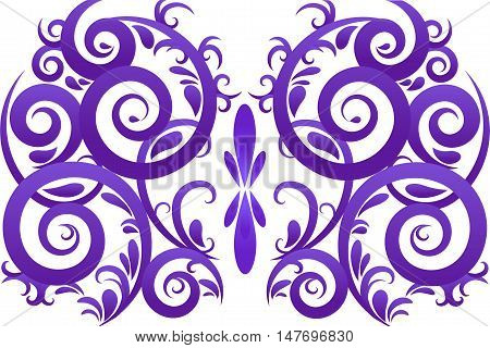 Purple color abstract swirl vector ornament background