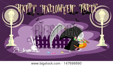 Funny little death with a large scythe punished rabbit skeleton and go away with a pumpkin full candy. Cartoon style. Development of a concept for banners posters or cards. Vector illustration