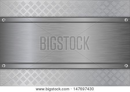 Metal background with steel brushed plate. Vector illustration