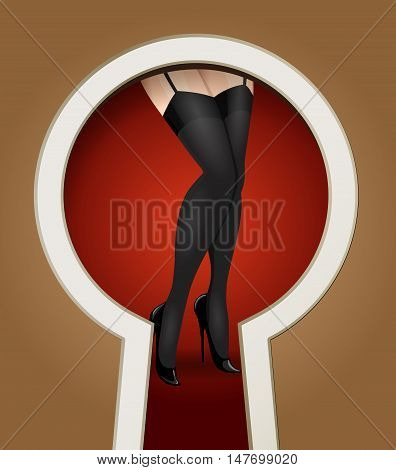 Woman legs in stockings seen through a key hole. Vector illustration