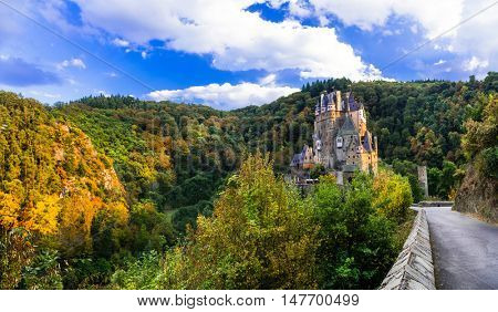 Burg Eltz - impressive famous castle in autun colors. Germany