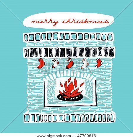 Christmas fireplace vintage hand drawn vector illustration. Card