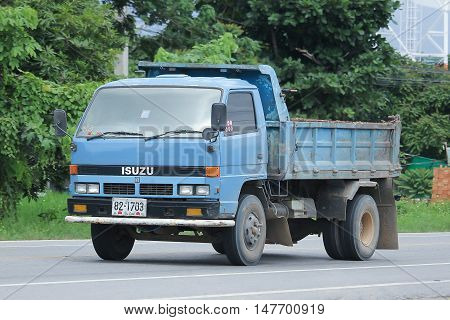 CHIANGMAI, THAILAND - AUGUST 18, 2016: Private Old isuzu Dump Truck. On road no.1001 8 km from Chiangmai city.