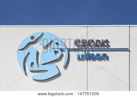 Vejle, Denmark - September 10, 2016:  Geodis Wilson logo on a wall.  Geodis is the division of the SNCF group responsible for freight transportation and logistics