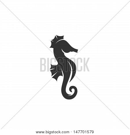 Sea horse Icon isolated on a white background. Sea horse Logo design vector template. Animal Logotype concept icon. Symbol, sign, pictogram, illustration - stock vector