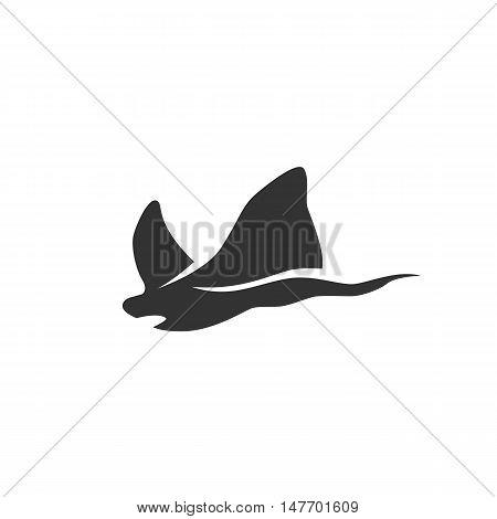 Stingray Icon isolated on a white background. Stingray Logo design vector template. Sea animals Logotype concept icon. Symbol, sign, pictogram, illustration - stock vector