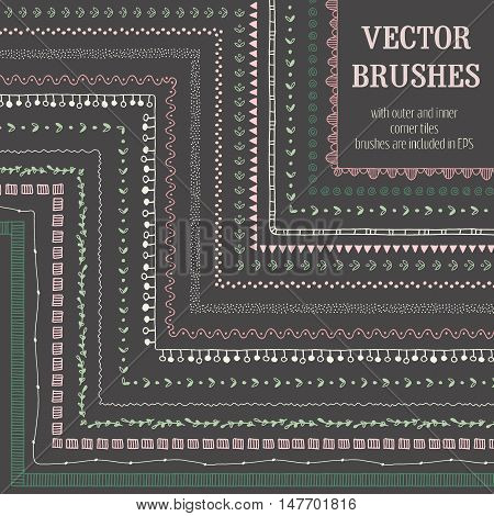 Hand drawn decorative vector brushes with inner and outer corner tiles. Pattern brushes are included in brush palette. Hand drawn hipster ink brushes dividers borders ornament. Vector pattern brush