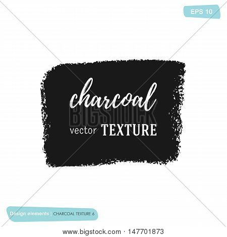 Hand drawn decorative charcoal texture. Vector charcoal design element. Coal stain for banners. Charcoal background. Black coal frame. Charcoal scribble background. Scribble coal hand drawn element.