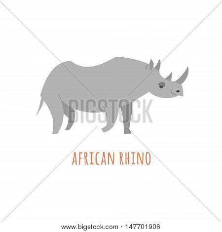 African rhino isolated. Abstract rhino. Isolated rhino. Rhino on white. Rhino side view. Rhino vector icon. Rhinoceros flat illustration. Rhino flat icon. African animal flat sign.