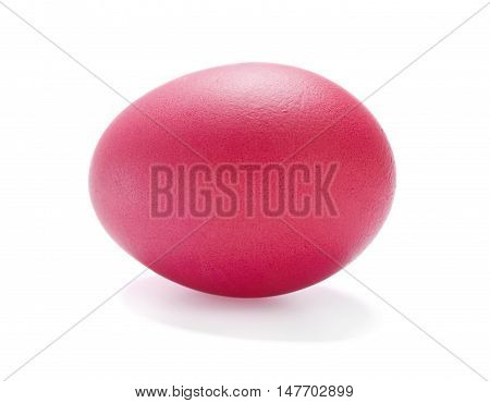 Red Easter egg isolated on white background.