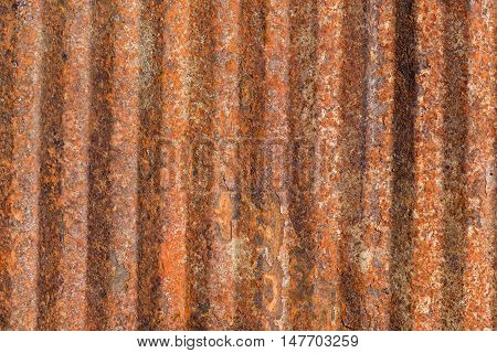 Ribbed rusty old metal surface. Grunge background