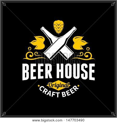Vector White And Yellow Vintage Beer House Logo