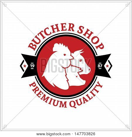 Butcher Shop Logo. Meat Label Template With Farm Animals Icons
