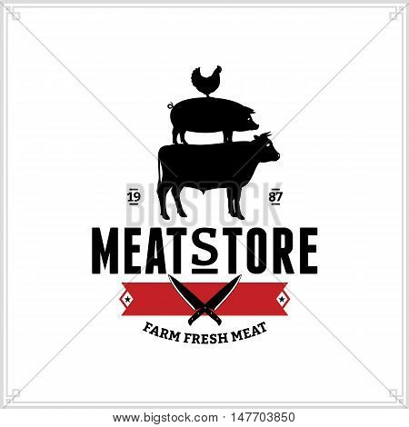 Butcher Shop Logo. Meat Label Template With Farm Animals Silhouettes And Knives