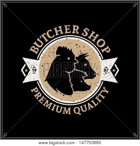 Retro Styled Butcher Shop Logo. Meat Label Template With Farm Animals Icons