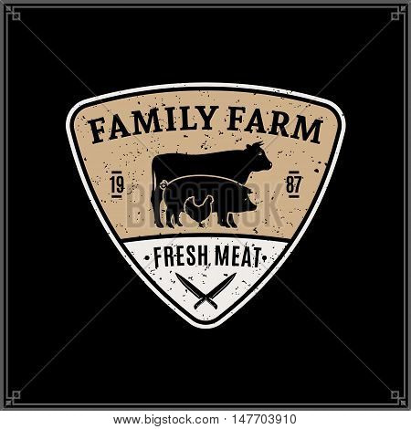 Retro Styled Butcher Shop Logo. Meat Label Template With Farm Animals Silhouettes