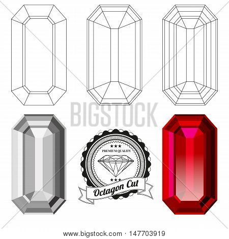 Set of octagon cut jewel views isolated on white background - top view bottom view realistic ruby realistic diamond and badge. Can be used as part of logo icon web decor or other design.