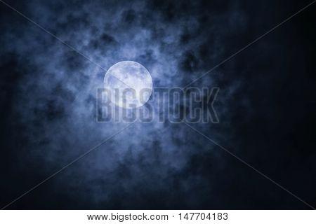 Full Moon with cloud at dark night