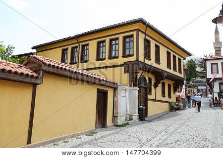ESKISEHIR TURKEY - SEPTEMBER 03 2016: Old building in historic Odunpazari district. Odunpazari is one of the most populer touristy district with old Ottoman Buildings in Eskisehir.