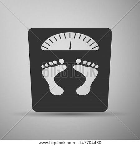 Bathroom scale with footprints icon. Vector Illustration.