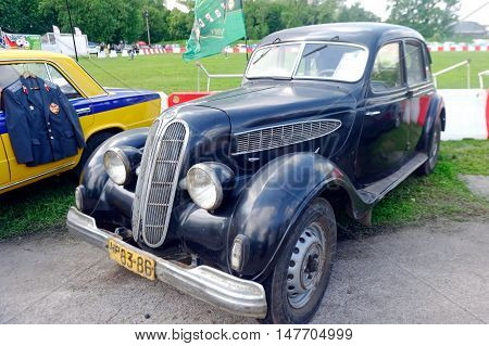 Kharkiv Ukraine - May 22 2016: Retro car black BMW 326 manufactured in 1936 is presented at the festival of vintage cars Kharkiv Retro Rally - 2016 in Kharkiv Ukraine on May 22 2016