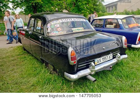 Kharkiv Ukraine - May 22 2016: Retro car black Ford Consul Mark II manufactured in 1957 is presented at the festival of vintage cars Kharkiv Retro Rally - 2016 in Kharkiv Ukraine on May 22 2016