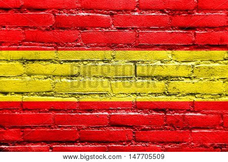 Flag Of Karlsruhe, Germany, Painted On Brick Wall