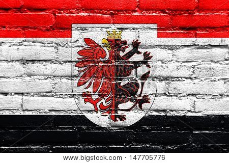 Flag Of Kuyavian-pomeranian Voivodeship With Coat Of Arms, Poland, Painted On Brick Wall