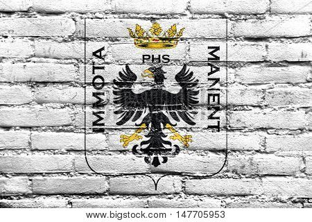 Flag Of L'aquila With Coat Of Arms, Italy, Painted On Brick Wall