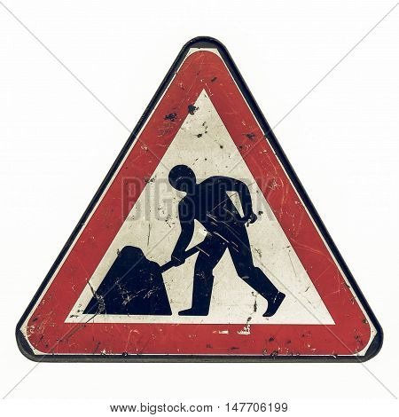 Vintage Looking Roadworks Sign