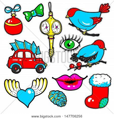 Set of New Year stickers, pins, patches in 80s-90s comic style. Fashion badges with lips, hearts, car, tree, toys, birds. Cartoon Christmas vector elements.